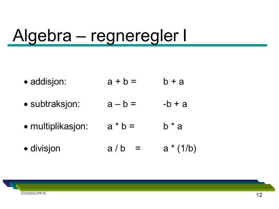 12  addisjon: a + b = b + a  subtraksjon:a – b = -b + a  multiplikasjon:a * b = b * a  divisjona / b = a * (1/b) Algebra – regneregler I SOS3003/JFRYE