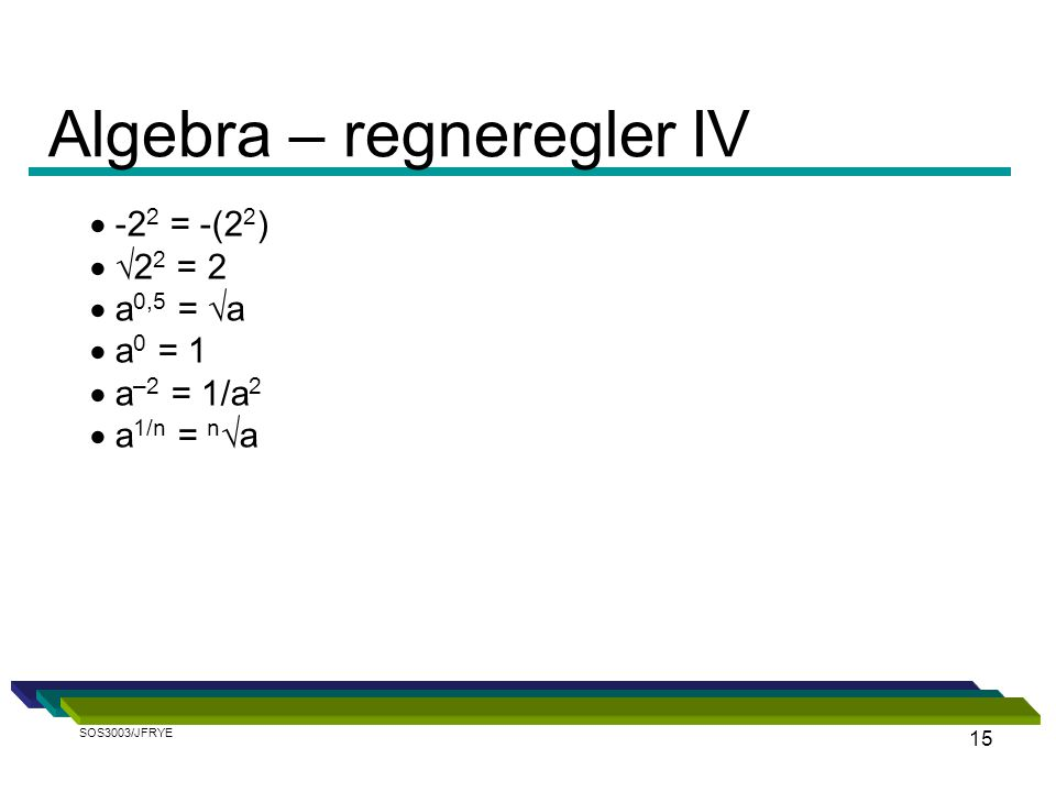 15  -2 2 = -(2 2 )  √2 2 = 2  a 0,5 = √a  a 0 = 1  a –2 = 1/a 2  a 1/n = n √a Algebra – regneregler IV SOS3003/JFRYE