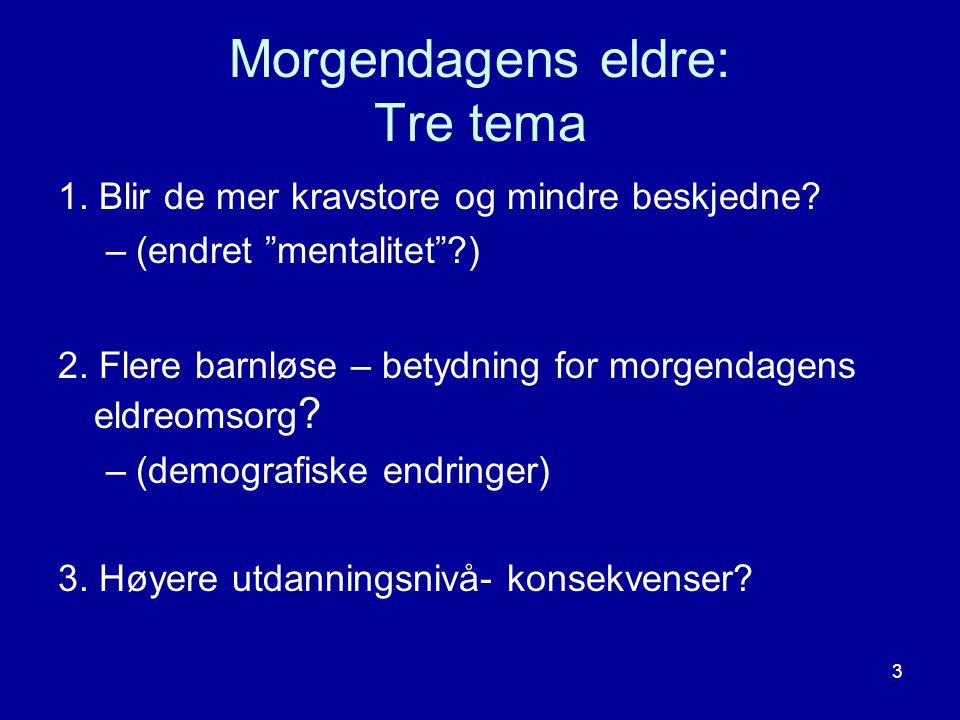 """3 Morgendagens eldre: Tre tema 1. Blir de mer kravstore og mindre beskjedne? –(endret """"mentalitet""""?) 2. Flere barnløse – betydning for morgendagens el"""