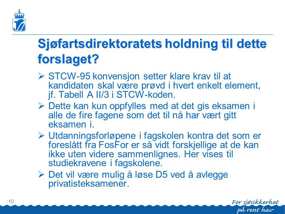 10 Sjøfartsdirektoratets holdning til dette forslaget?  STCW-95 konvensjon setter klare krav til at kandidaten skal være prøvd i hvert enkelt element