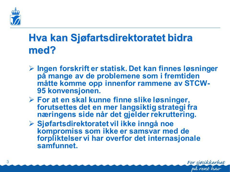 3 Hva kan Sjøfartsdirektoratet bidra med?  Ingen forskrift er statisk. Det kan finnes løsninger på mange av de problemene som i fremtiden måtte komme