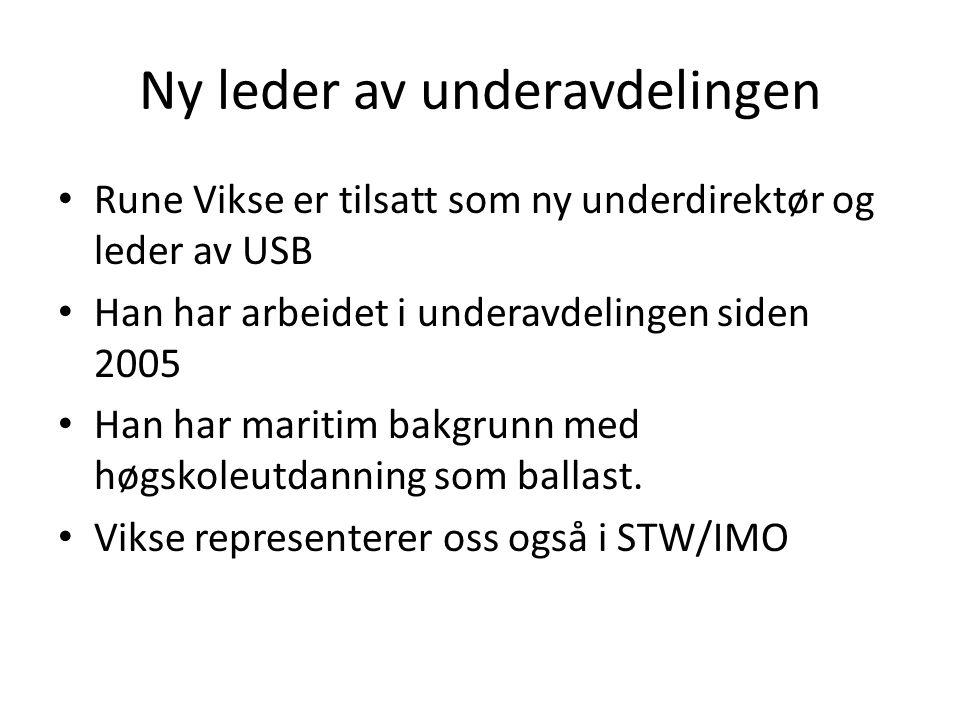 Ny leder av underavdelingen • Rune Vikse er tilsatt som ny underdirektør og leder av USB • Han har arbeidet i underavdelingen siden 2005 • Han har maritim bakgrunn med høgskoleutdanning som ballast.