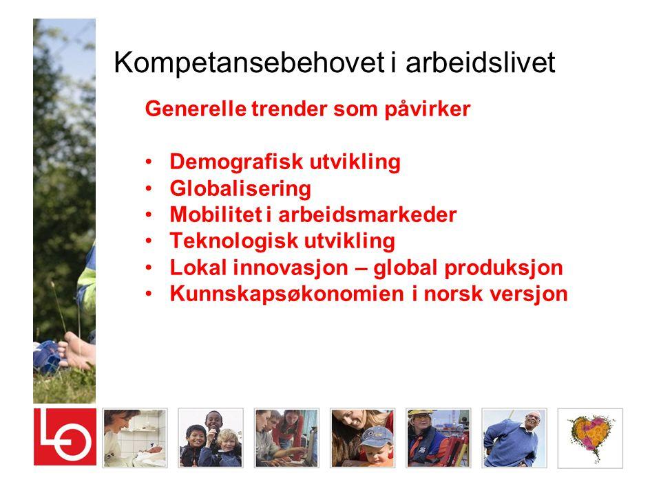 Kompetansebehovet i arbeidslivet Generelle trender som påvirker •Demografisk utvikling •Globalisering •Mobilitet i arbeidsmarkeder •Teknologisk utvikl