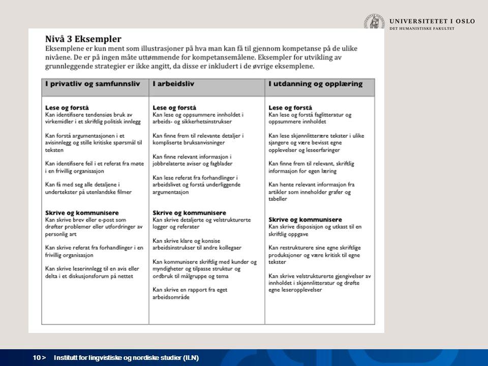 10 > Institutt for lingvistiske og nordiske studier (ILN)