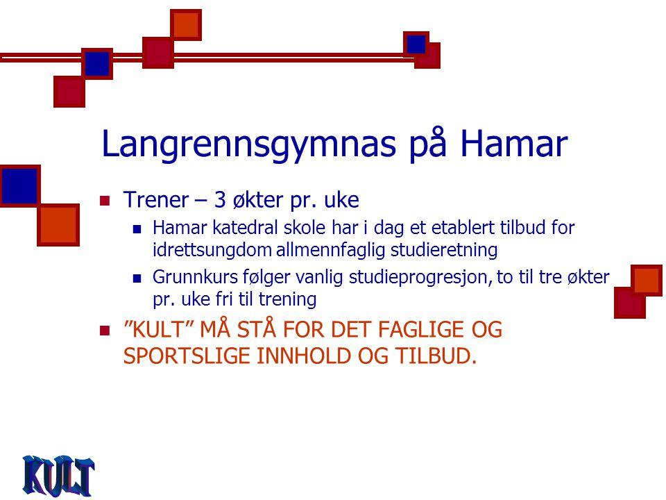 Langrennsgymnas på Hamar  Trener – 3 økter pr.