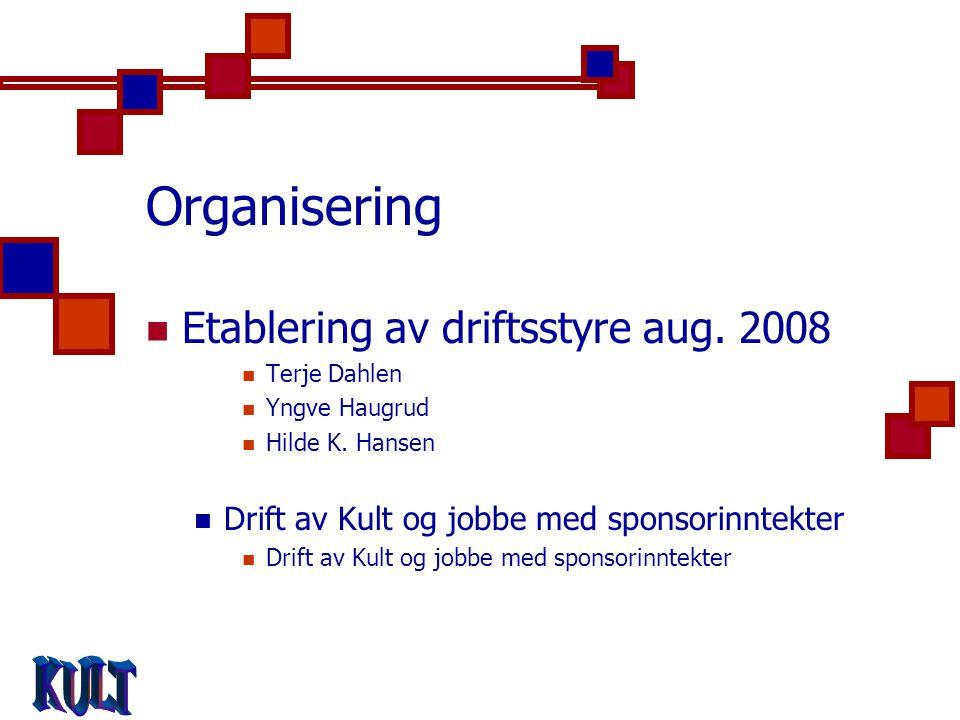 Organisering  Etablering av driftsstyre aug. 2008  Terje Dahlen  Yngve Haugrud  Hilde K.
