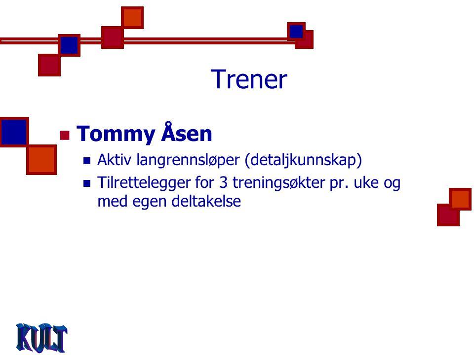 Trener  Tommy Åsen  Aktiv langrennsløper (detaljkunnskap)  Tilrettelegger for 3 treningsøkter pr.