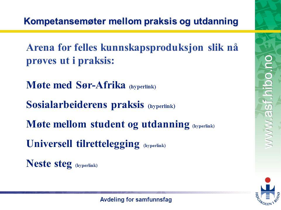OMJ-98 Avdeling for samfunnsfag Kompetansemøter mellom praksis og utdanning Møte med Sør-Afrika (hyperlink) Sosialarbeiderens praksis ( hyperlink ) Møte mellom student og utdanning (hyperlink) Universell tilrettelegging (hyperlink) Neste steg (hyperlink) Arena for felles kunnskapsproduksjon slik nå prøves ut i praksis: