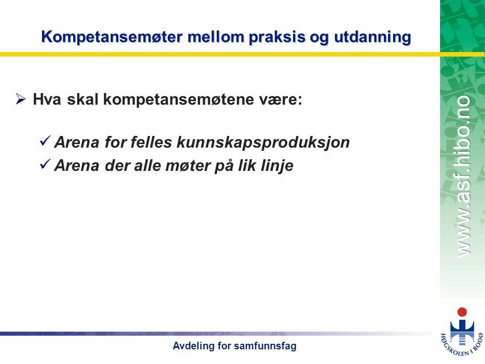 OMJ-98 Avdeling for samfunnsfag Kompetansemøter mellom praksis og utdanning  Hva skal kompetansemøtene være:  Arena for felles kunnskapsproduksjon  Arena der alle møter på lik linje