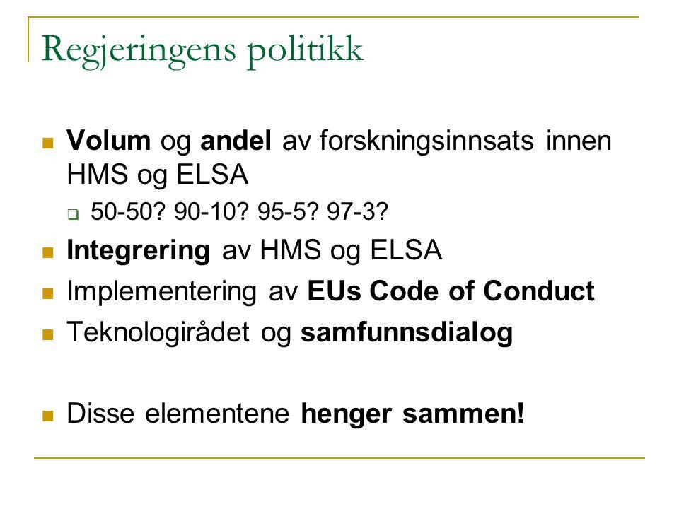 Regjeringens politikk  Volum og andel av forskningsinnsats innen HMS og ELSA  50-50.