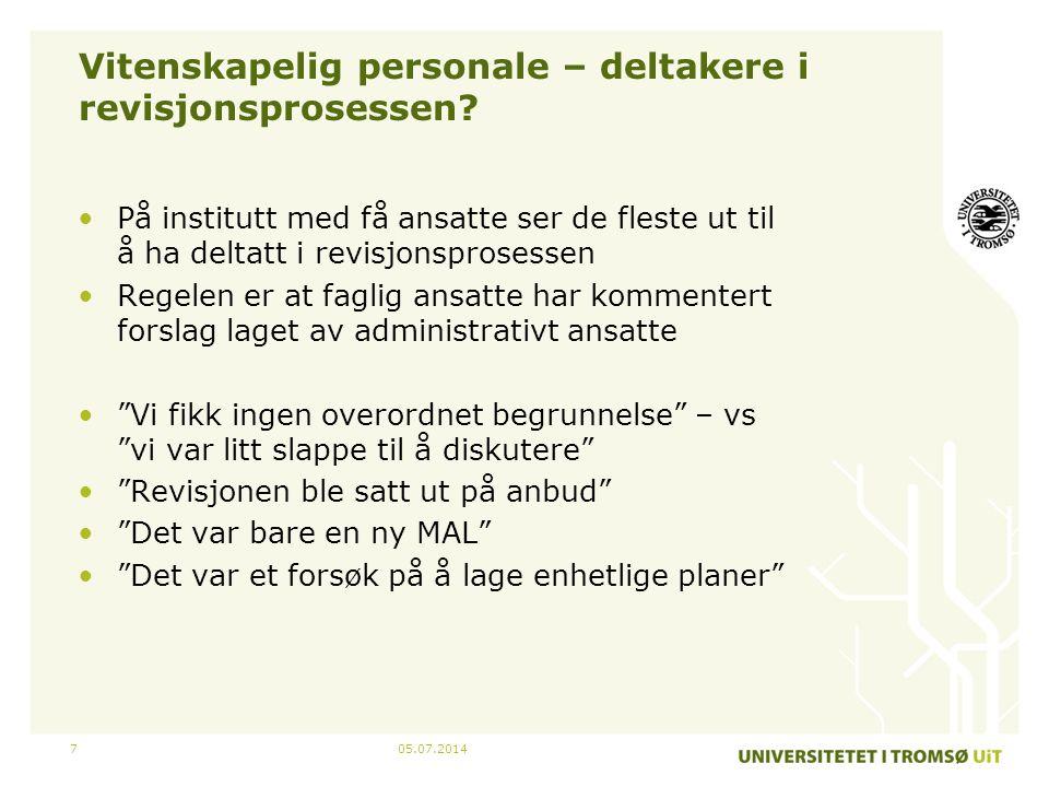 05.07.20147 Vitenskapelig personale – deltakere i revisjonsprosessen.