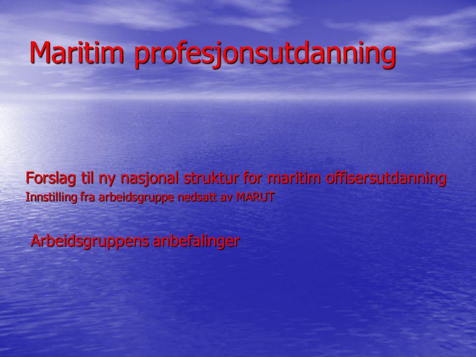 Maritim profesjonsutdanning Forslag til ny nasjonal struktur for maritim offisersutdanning Innstilling fra arbeidsgruppe nedsatt av MARUT Arbeidsgruppens anbefalinger Arbeidsgruppens anbefalinger