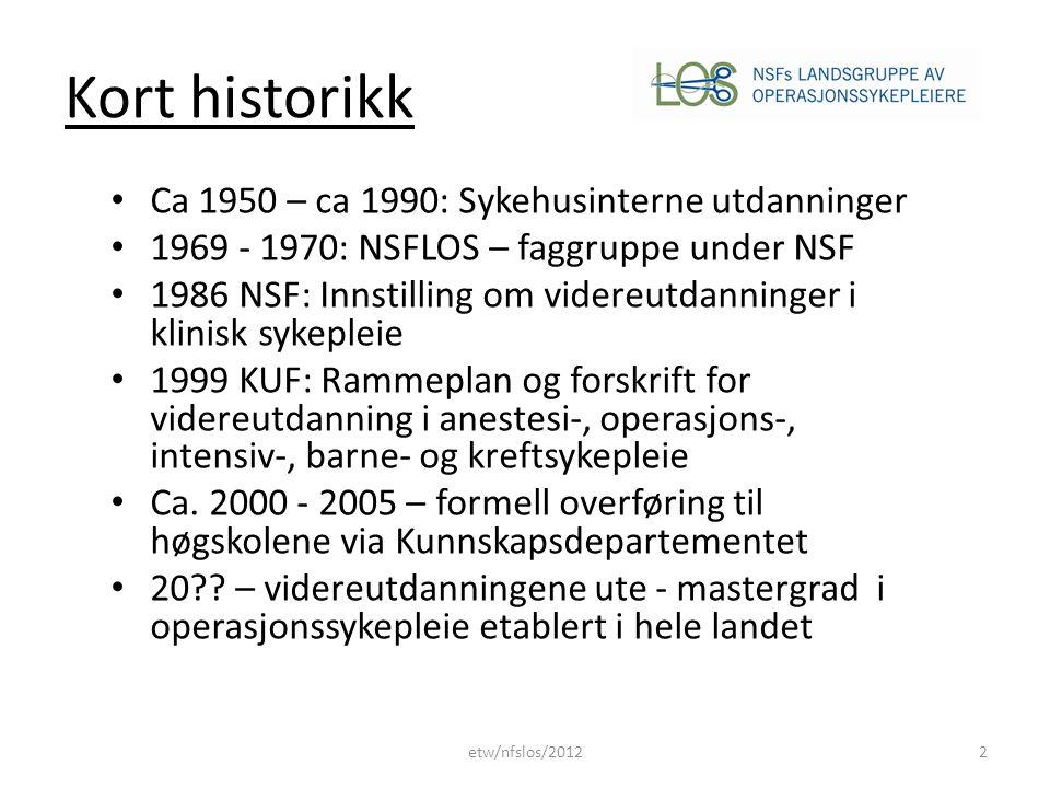 Styringsdokumenter • Lovverk: – Lov om helsepersonell (1999) – Lov om spesialisthelsetjenesten (1999) – Lov om pasientrettigheter (1999) – Lov om Universiteter og høgskoler (2005) • Yrkesetiske retningslinjer / ICNs etiske regler (2011) • Rammeplaner (1999 – 2005) – Fagplaner / Undervisningsplaner etw/nfslos/20123