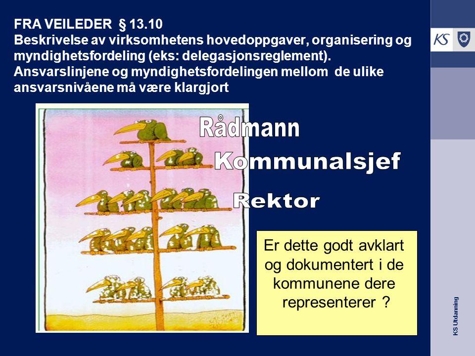 KS Utdanning FRA VEILEDER § 13.10 Beskrivelse av virksomhetens hovedoppgaver, organisering og myndighetsfordeling (eks: delegasjonsreglement). Ansvars