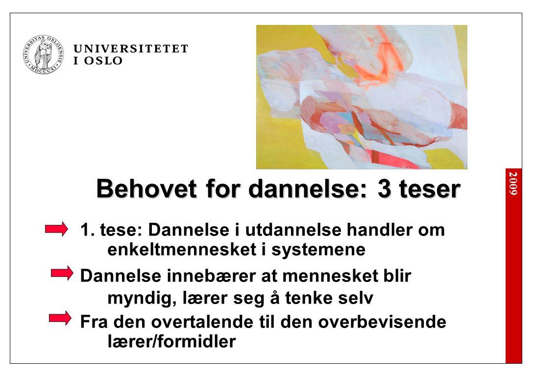 2009 Behovet for dannelse: 3 teser 1.