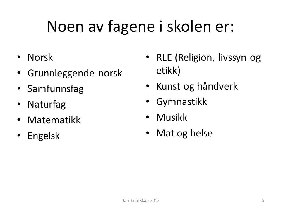 Noen av fagene i skolen er: • Norsk • Grunnleggende norsk • Samfunnsfag • Naturfag • Matematikk • Engelsk • RLE (Religion, livssyn og etikk) • Kunst og håndverk • Gymnastikk • Musikk • Mat og helse Basiskunnskap 20125