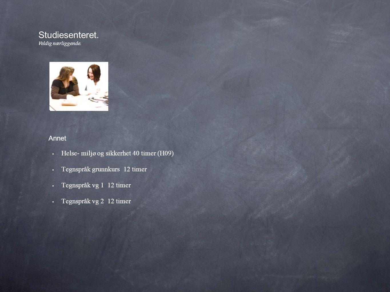 • Helse- miljø og sikkerhet 40 timer (H09) • Tegnspråk grunnkurs 12 timer • Tegnspråk vg 1 12 timer • Tegnspråk vg 2 12 timer Studiesenteret.