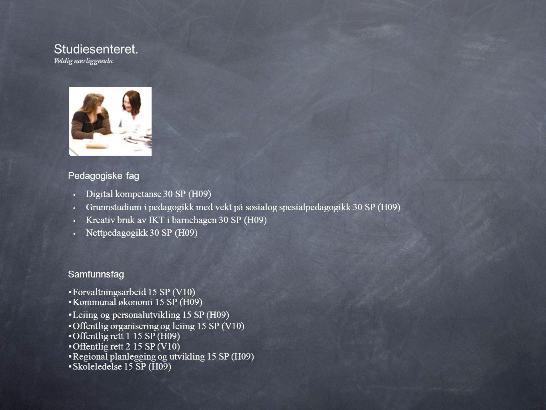 • Digital kompetanse 30 SP (H09) • Grunnstudium i pedagogikk med vekt på sosialog spesialpedagogikk 30 SP (H09) • Kreativ bruk av IKT i barnehagen 30 SP (H09) • Nettpedagogikk 30 SP (H09) Studiesenteret.