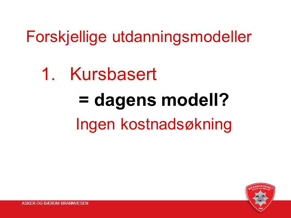 ASKER OG BÆRUM BRANNVESEN Forskjellige utdanningsmodeller 1.Kursbasert = dagens modell? Ingen kostnadsøkning