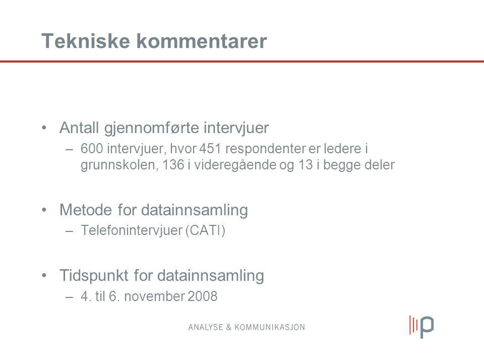Tekniske kommentarer •Antall gjennomførte intervjuer –600 intervjuer, hvor 451 respondenter er ledere i grunnskolen, 136 i videregående og 13 i begge deler •Metode for datainnsamling –Telefonintervjuer (CATI) •Tidspunkt for datainnsamling –4.