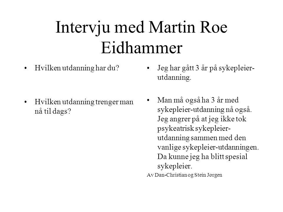 Intervju med Martin Roe Eidhammer •Hva jobber du med •Hva liker du med jobben din? •Er det noe du misliker med jobben din? •J•Jeg er sykepleier på psy