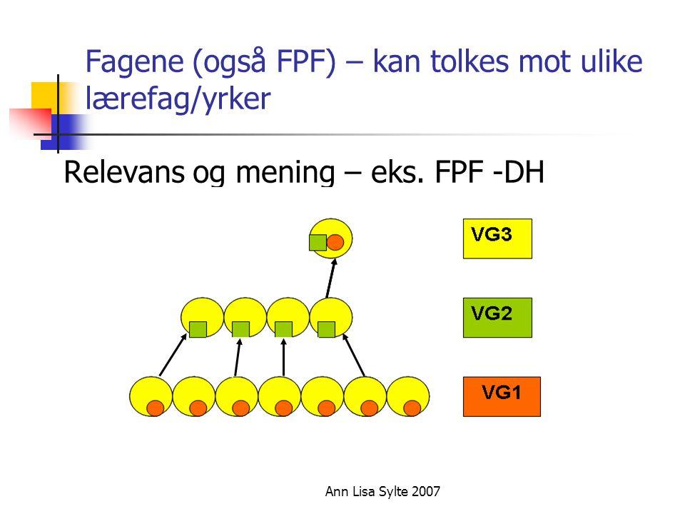 Ann Lisa Sylte 2007 Fagene (også FPF) – kan tolkes mot ulike lærefag/yrker Relevans og mening – eks.