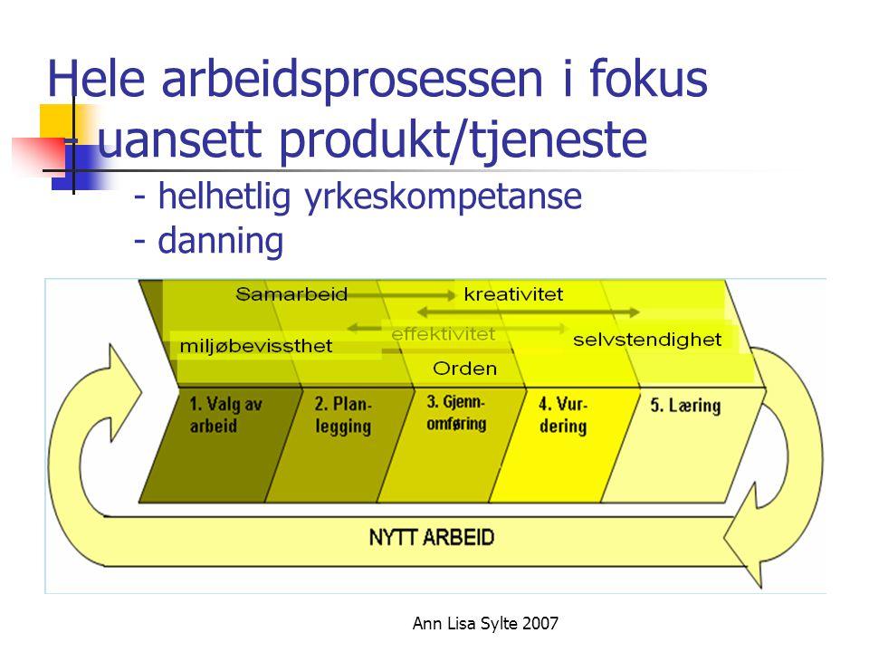 Ann Lisa Sylte 2007 Hele arbeidsprosessen i fokus - uansett produkt/tjeneste - helhetlig yrkeskompetanse - danning