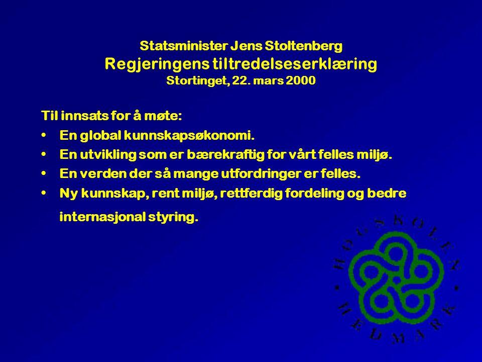 Statsminister Jens Stoltenberg Regjeringens tiltredelseserklæring Stortinget, 22.
