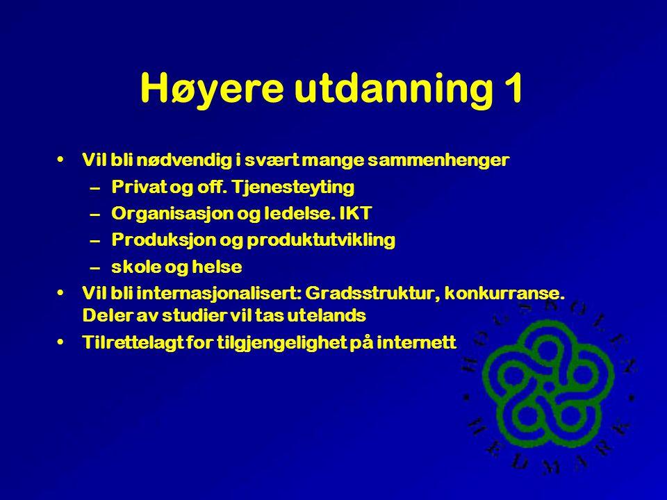 Høyere utdanning 1 •Vil bli nødvendig i svært mange sammenhenger –Privat og off.