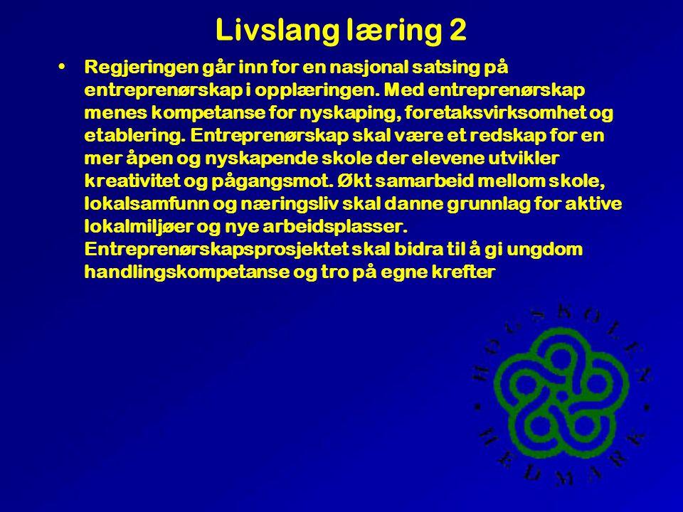 Livslang læring 2 •Regjeringen går inn for en nasjonal satsing på entreprenørskap i opplæringen.