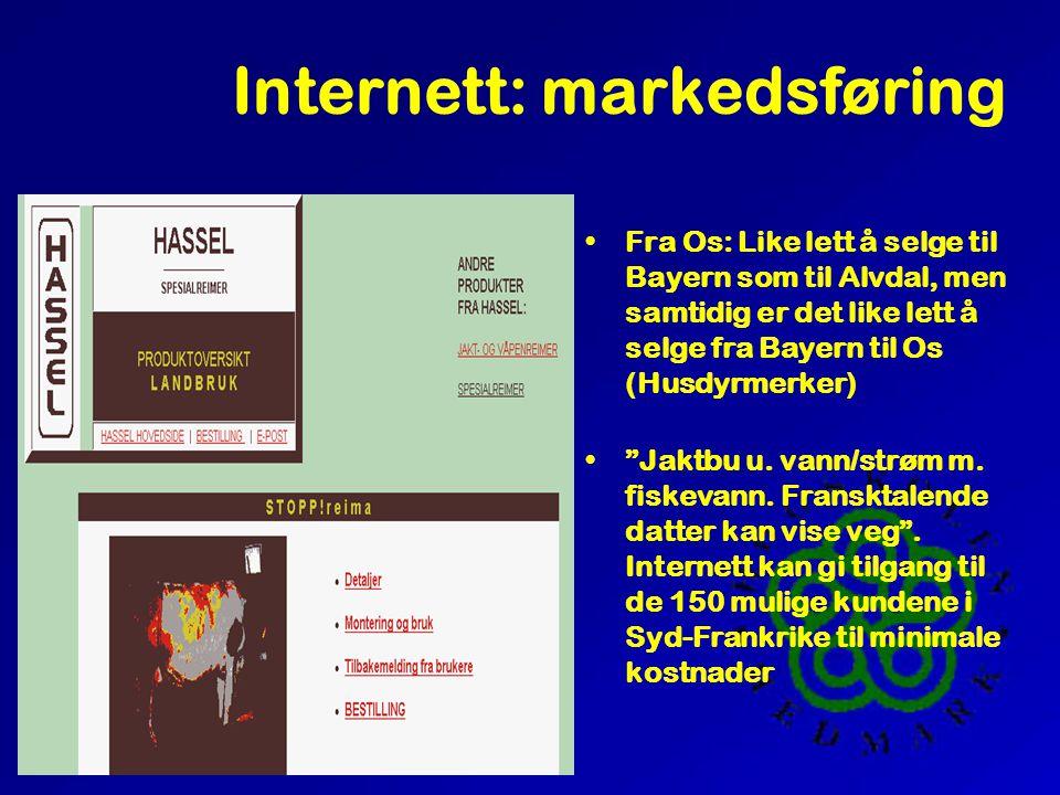Internett: markedsføring •Fra Os: Like lett å selge til Bayern som til Alvdal, men samtidig er det like lett å selge fra Bayern til Os (Husdyrmerker) • Jaktbu u.