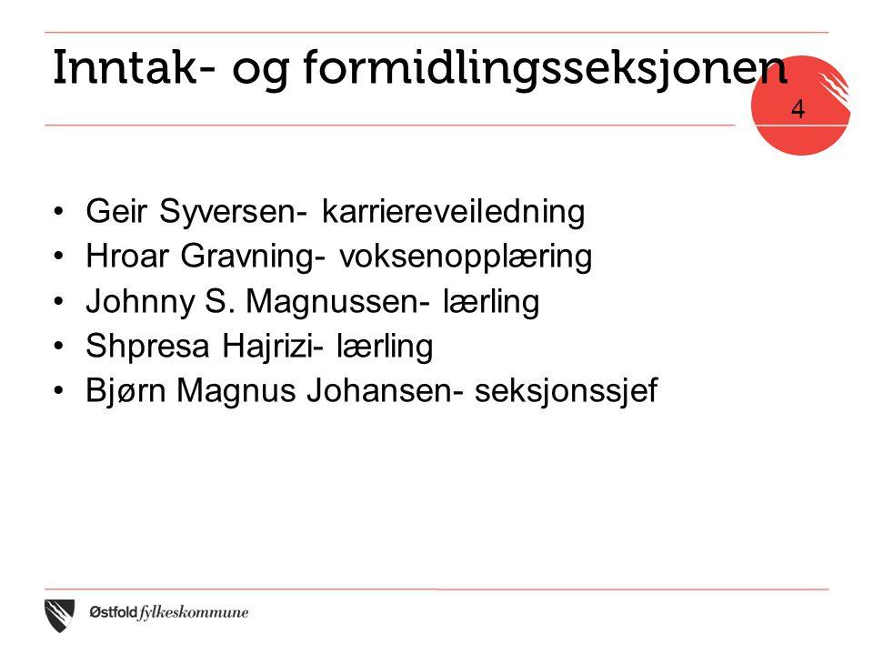 Inntak- og formidlingsseksjonen •Geir Syversen- karriereveiledning •Hroar Gravning- voksenopplæring •Johnny S.