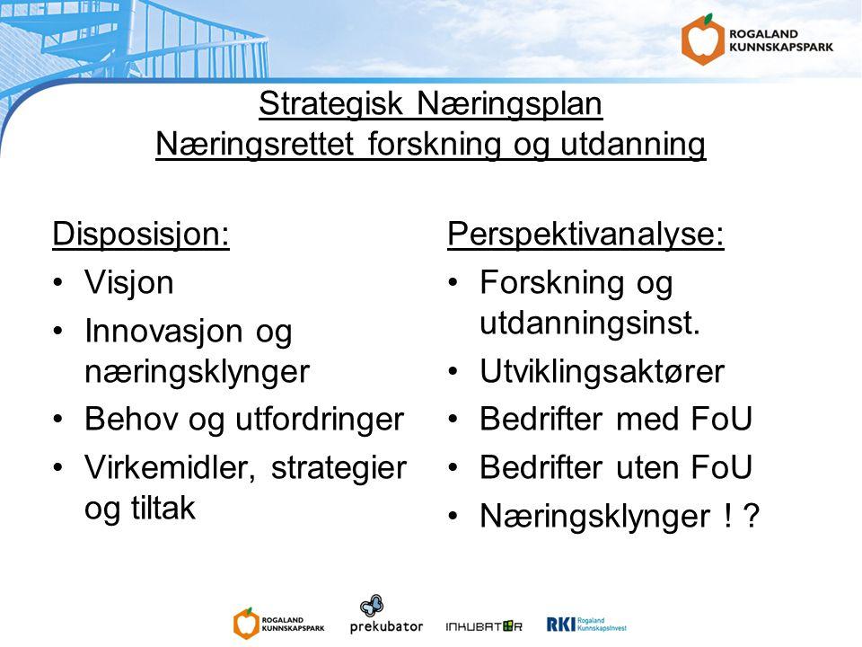 Strategisk Næringsplan Næringsrettet forskning og utdanning Disposisjon: •Visjon •Innovasjon og næringsklynger •Behov og utfordringer •Virkemidler, strategier og tiltak Perspektivanalyse: •Forskning og utdanningsinst.