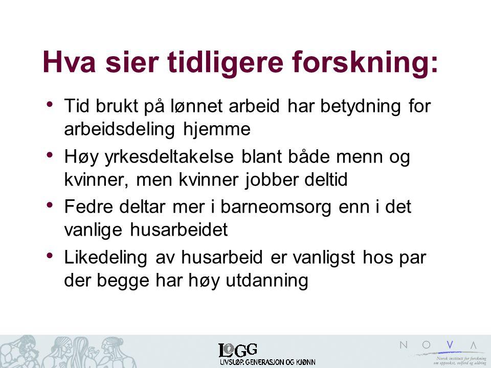 Hva sier tidligere forskning: • Tid brukt på lønnet arbeid har betydning for arbeidsdeling hjemme • Høy yrkesdeltakelse blant både menn og kvinner, me
