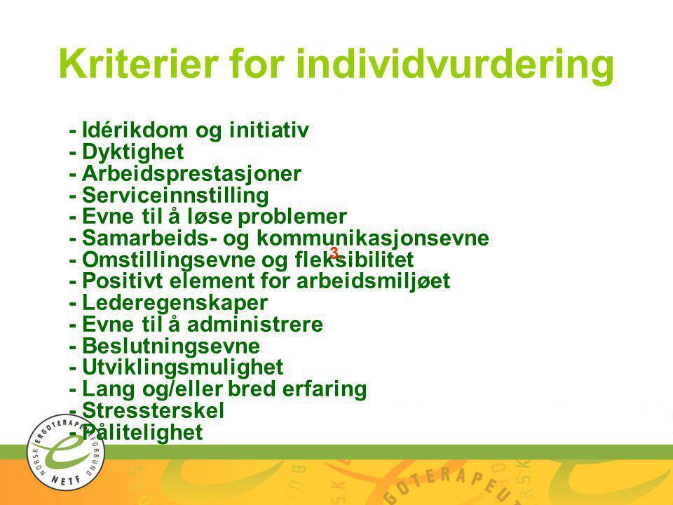 Kriterier for individvurdering - Idérikdom og initiativ - Dyktighet - Arbeidsprestasjoner - Serviceinnstilling - Evne til å løse problemer - Samarbeid