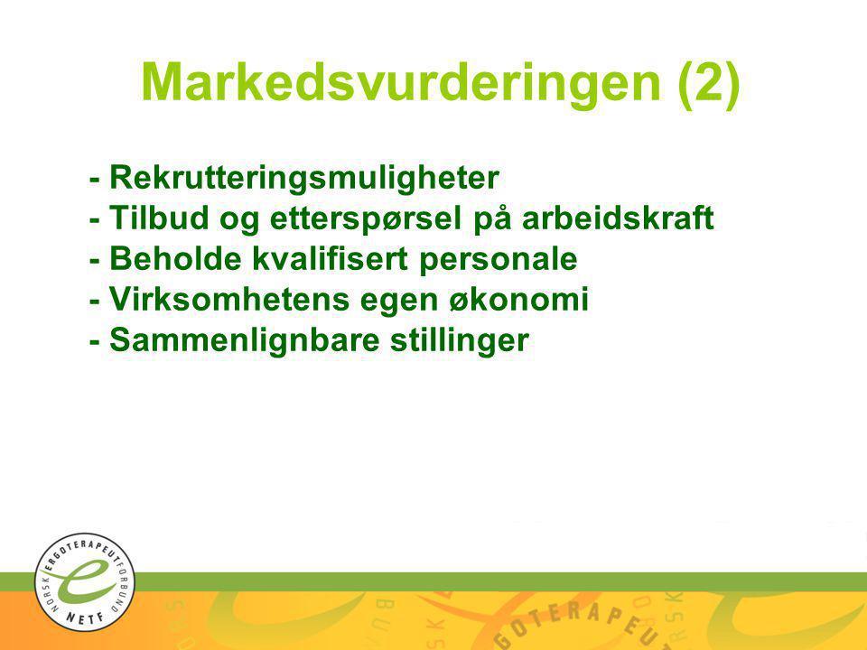Markedsvurderingen (2) - Rekrutteringsmuligheter - Tilbud og etterspørsel på arbeidskraft - Beholde kvalifisert personale - Virksomhetens egen økonomi - Sammenlignbare stillinger