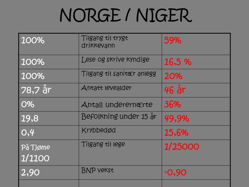 NORGE / NIGER 100% Tilgang til trygt drikkevann 59% 100% Lese og skrive kyndige 16,5 % 100% Tilgang til sanitær anlegg 20% 78,7 år Antatt levealder 46