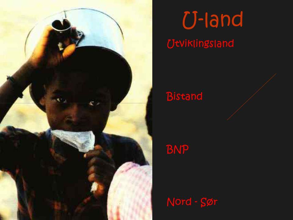 U-land Utviklingsland Bistand BNP Nord - Sør