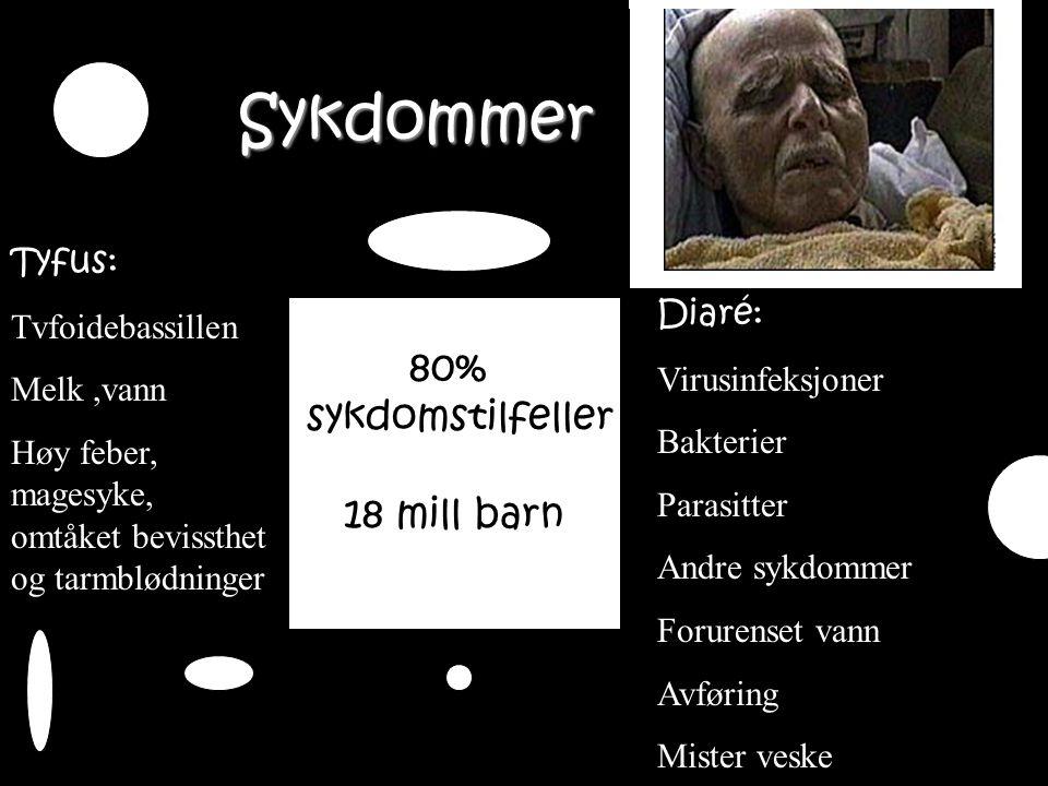80% sykdomstilfeller 18 mill barn Tyfus: Tvfoidebassillen Melk,vann Høy feber, magesyke, omtåket bevissthet og tarmblødninger Diaré: Virusinfeksjoner