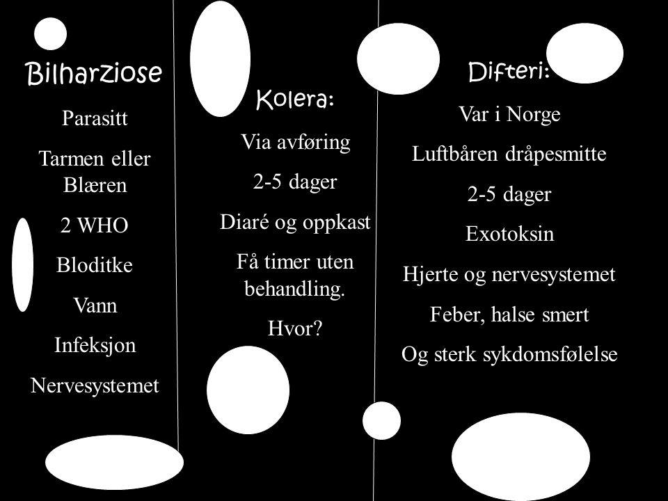 Difteri: Var i Norge Luftbåren dråpesmitte 2-5 dager Exotoksin Hjerte og nervesystemet Feber, halse smert Og sterk sykdomsfølelse Kolera: Via avføring