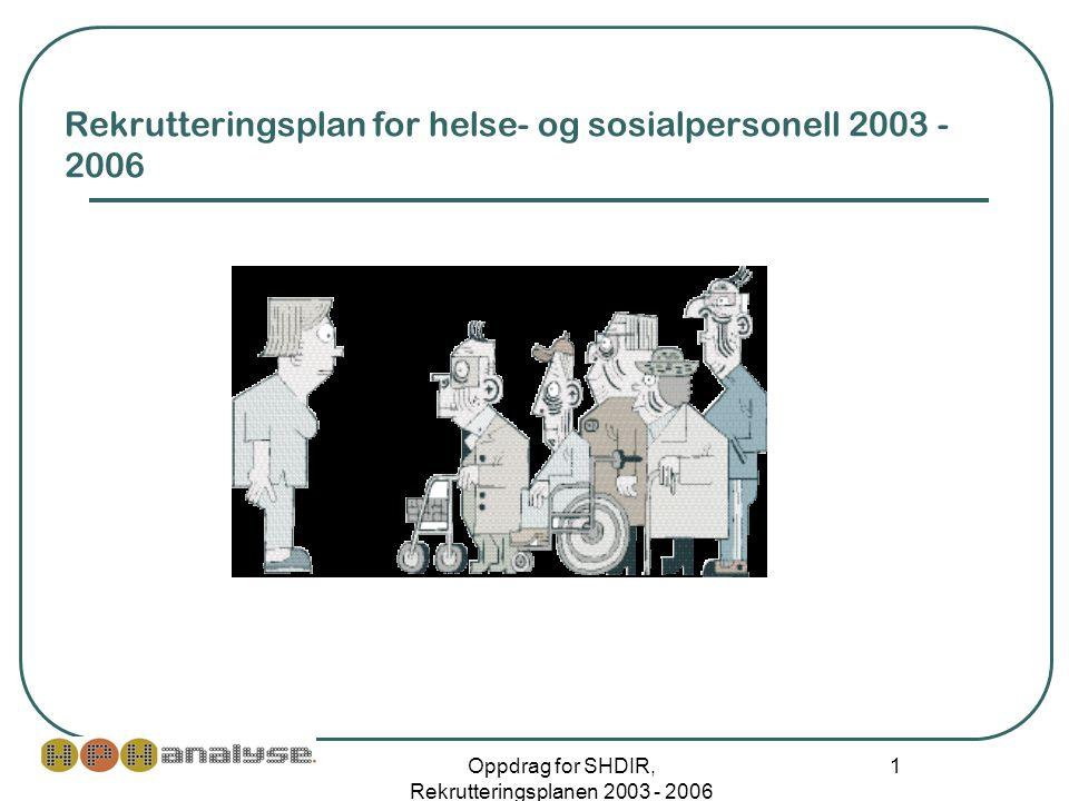 Oppdrag for SHDIR, Rekrutteringsplanen 2003 - 2006 1 Rekrutteringsplan for helse- og sosialpersonell 2003 - 2006