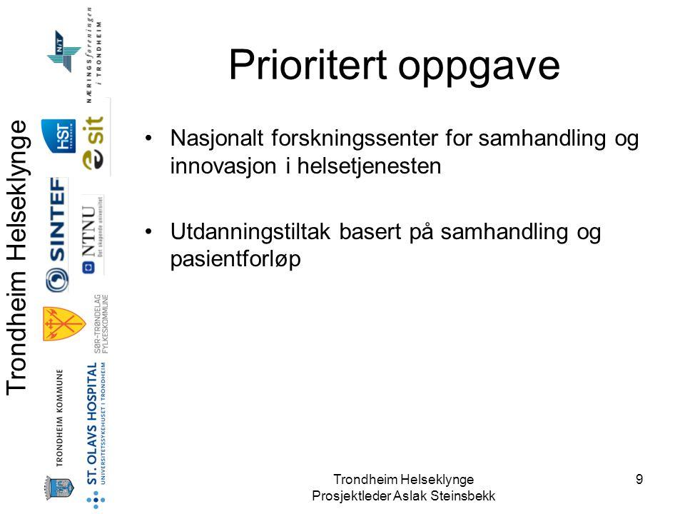 Trondheim Helseklynge Prosjektleder Aslak Steinsbekk 9 Prioritert oppgave •Nasjonalt forskningssenter for samhandling og innovasjon i helsetjenesten •