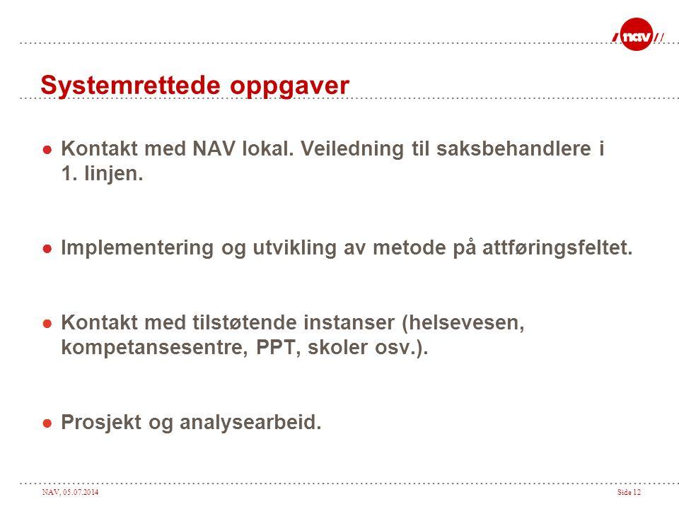 NAV, 05.07.2014Side 12 Systemrettede oppgaver ●Kontakt med NAV lokal. Veiledning til saksbehandlere i 1. linjen. ●Implementering og utvikling av metod