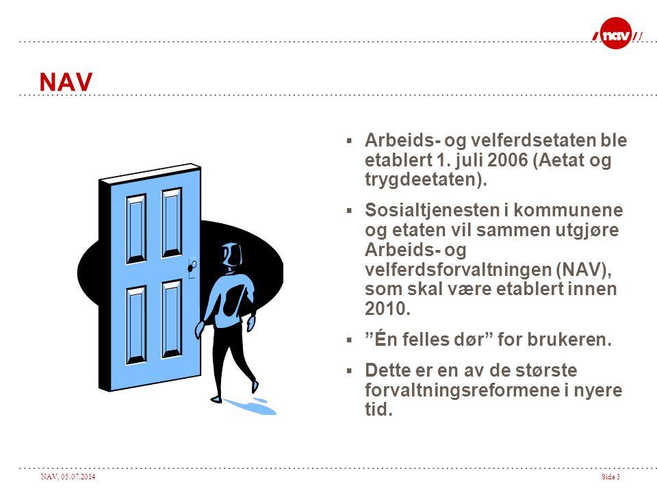 NAV, 05.07.2014Side 3 NAV  Arbeids- og velferdsetaten ble etablert 1. juli 2006 (Aetat og trygdeetaten).  Sosialtjenesten i kommunene og etaten vil