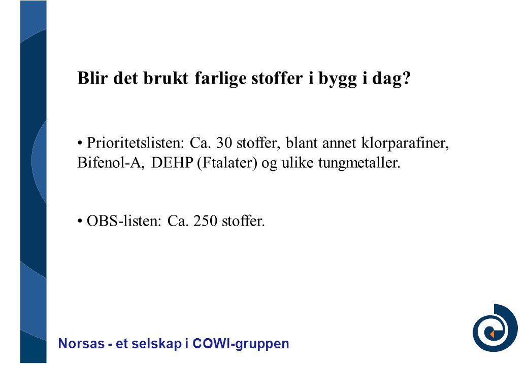 Norsas - et selskap i COWI-gruppen Blir det brukt farlige stoffer i bygg i dag? • Prioritetslisten: Ca. 30 stoffer, blant annet klorparafiner, Bifenol
