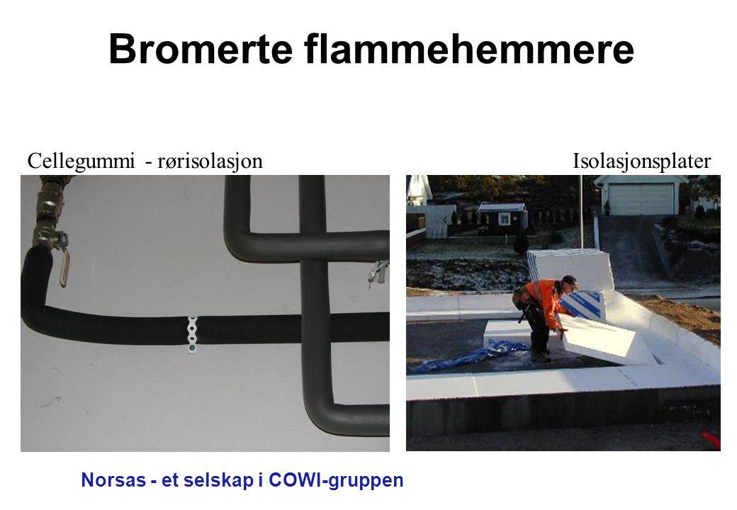Norsas - et selskap i COWI-gruppen Bromerte flammehemmere Cellegummi - rørisolasjonIsolasjonsplater