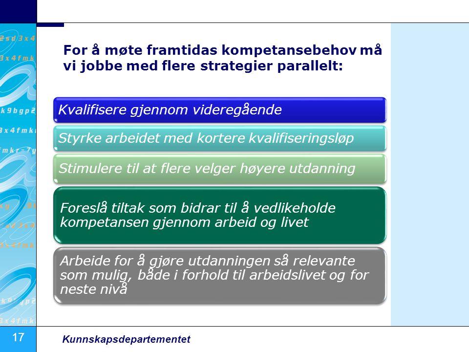 17 Kunnskapsdepartementet For å møte framtidas kompetansebehov må vi jobbe med flere strategier parallelt: Kvalifisere gjennom videregåendeStyrke arbe