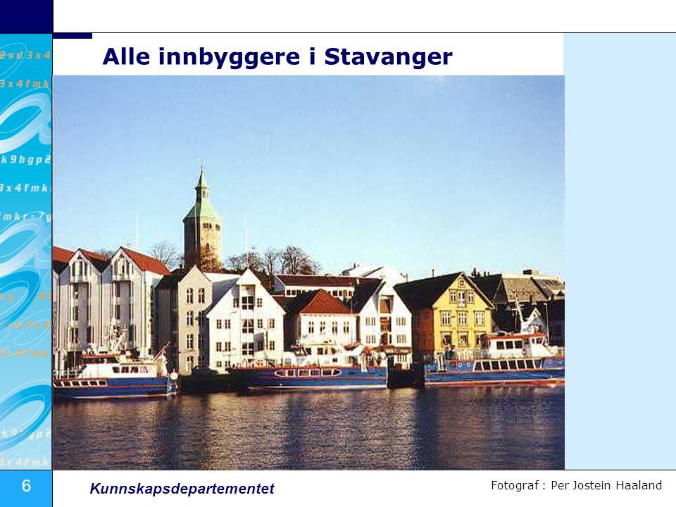 6 Kunnskapsdepartementet Alle innbyggere i Stavanger Fotograf : Per Jostein Haaland