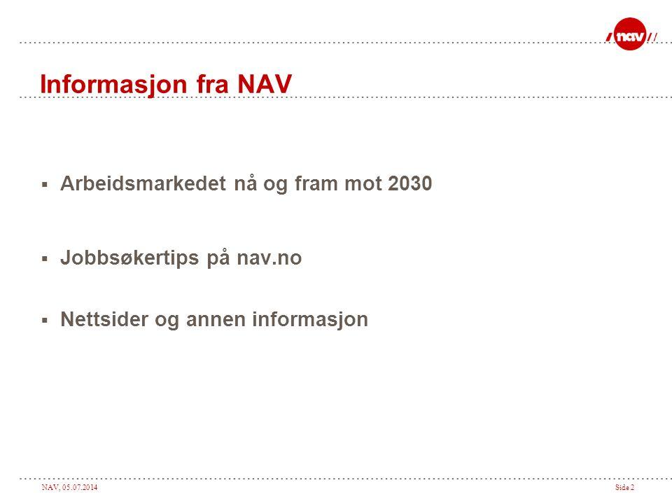 NAV, 05.07.2014Side 2 Informasjon fra NAV  Arbeidsmarkedet nå og fram mot 2030  Jobbsøkertips på nav.no  Nettsider og annen informasjon