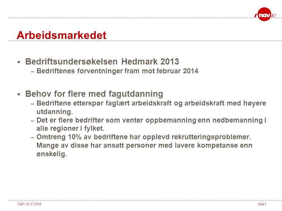 NAV, 05.07.2014Side 3 Arbeidsmarkedet  Bedriftsundersøkelsen Hedmark 2013 – Bedriftenes forventninger fram mot februar 2014  Behov for flere med fag